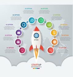 Startup circle infographics with rocket 10 options vector