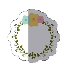 sticker colorful ornament creepers with flowers vector image