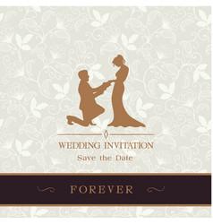 Wedding invitation save the date forever retro flo vector