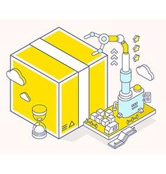 Yellow box hourglass and three dimensio vector