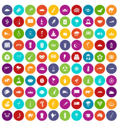 100 exotic animals icons set color vector