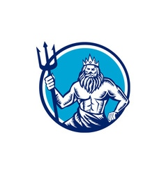 Poseidon trident circle woodcut vector