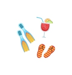 Vacation set with fins fliip-flops and cocktail vector
