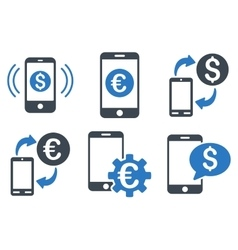 Mobile banking flat icons vector