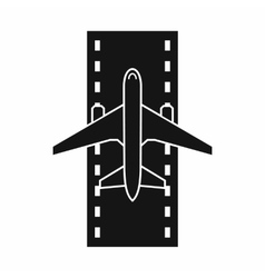 Airplane on the runway icon simple style vector