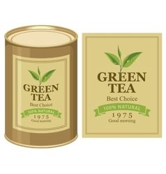 Tin can with label of green tea vector