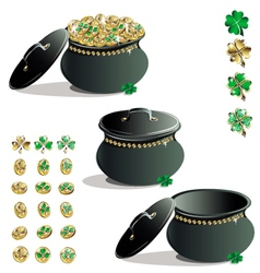 Treasure leprechaun set vector