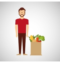 cartoon man hipster with shop bag healthy food vector image