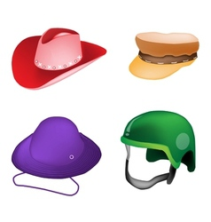 Set of hats and helmet on white background vector