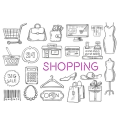 Shopping isolated sketch icons vector