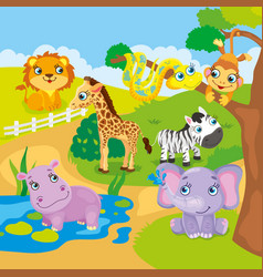 Cute cartoon zoo animals vector