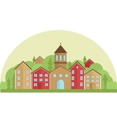 Calm village in flat simple style horizontal vector