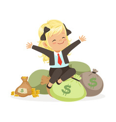 Happy blonde girl businesswoman sitting on bags of vector