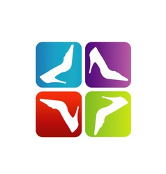 Shoe logo with colorful boxes vector