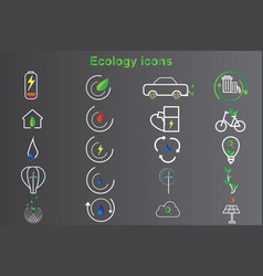 20 set ecology icon design vector image