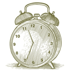 Woodcut clock vector
