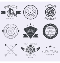 Set of old bikes shop logo set vector