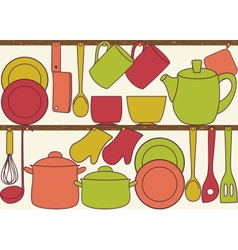Kitchen utensils on shelves - seamless pattern vector image
