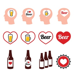 Man loving beer icons set vector