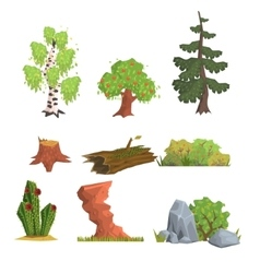 Trees bushes and nature elements set vector