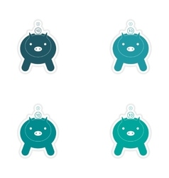 Stylish assembly sticker on paper piggy bank and vector