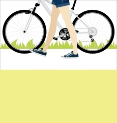 Young girl with slender legs leads her bike vector