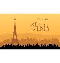 Silhouette of paris at sunset vector