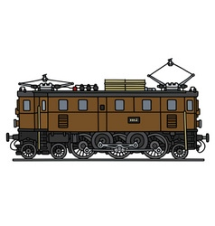 Classic brown electric locomotive vector