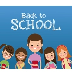 back to school with students poster vector image