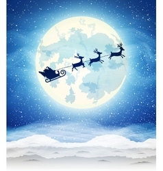 Bright moon and the silhouette of santa claus vector