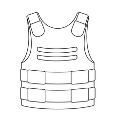 bulletproof vest icon in outline style isolated on vector image