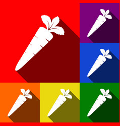 carrot sign set of icons vector image