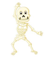 cartoon funny human skeleton dancing vector image vector image