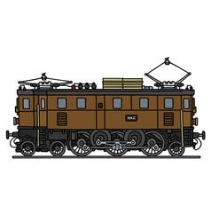 Classic brown electric locomotive vector