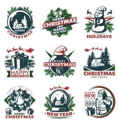 Colorful christmas labels set vector