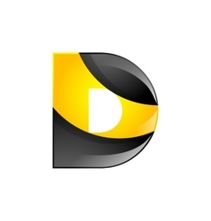Creative yellow and black symbol letter D for your vector image