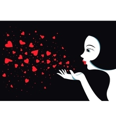 Cute girl blows with hands hearts air kiss vector