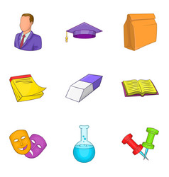 Educational institution icons set cartoon style vector