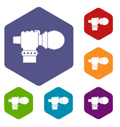 Hand microphone icons set hexagon vector