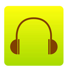 Headphones sign brown icon vector