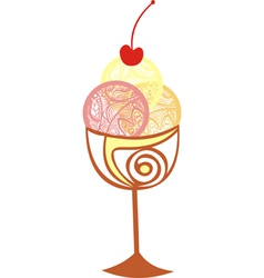 Ice cream sweet cherry vector image