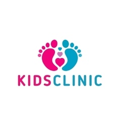 logo Childrens health clinicHeart the childs feet vector image