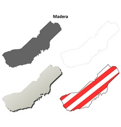 Madera county california outline map set vector