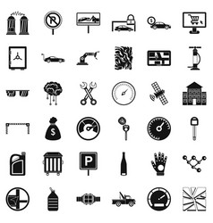 Mechanic car icons set simple style vector