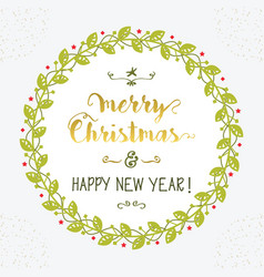 Merry christmas and happy new year green floral vector
