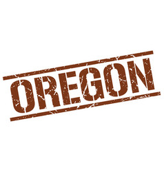 Oregon brown square stamp vector