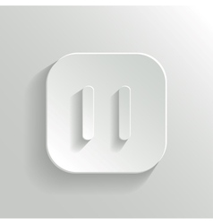 Pause icon - media player icon - white app button vector