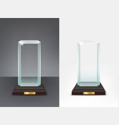 realistic glass trophy sport and business award vector image