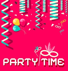 Retro party time flat design with confetti a vector