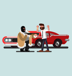 Robber steal a car vector